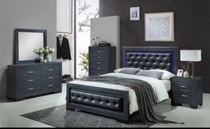 Brand new queen leather wooden light bedroom set 4 pc bed frame dresser mirror and 1 nightstand no mattress// Miriams furniture Mon/Sat 11/5 pm 719 for Sale in Miami, FL