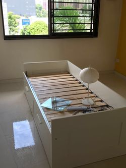 IKEA bed frame,bought a few years ago but still in good condition; it is twin bed but can become queen size;includes twin mattress and the bed is disa for Sale in Canton,  MI