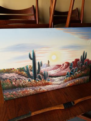 """Vintage Western Frontier Landscape Oil Painting on Canvas by W. Amion that's in great condition! Dimensions: 36""""L x 24""""H for Sale in Boca Raton, FL"""