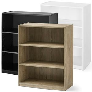 3-Shelf Wood Bookcase, Wide Storage Book Display Bookshelf Adjustable Shelving for Sale in Cedar Hill, TX