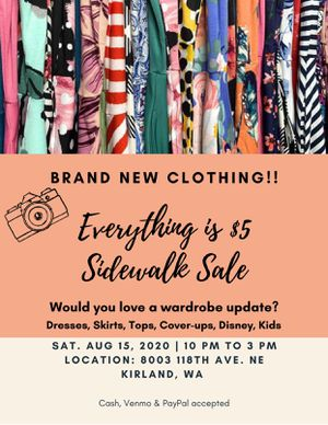Brand New Clothing Sidewalk Sale - 8/15 for Sale in Bothell, WA