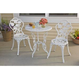 3 Pcs Patio Table and Chairs Furniture Bistro Set Cast Aluminum For Outdoor Porch Garden (White) for Sale in Agua Dulce, CA