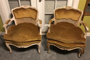 Pair Antique French Chairs Off White Down Cushions for Sale in Las Vegas, NV