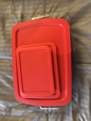 3 sizes of Pyrex baking dishes with covers for Sale in Seal Beach, CA