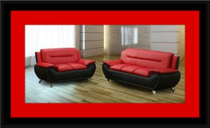Red/black sofa and love seat 2pc set free delivery for Sale in Crofton, MD