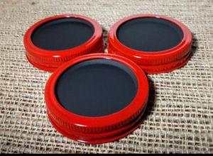 Chalkboard 3 Mason Jar Regular Mouth Lid/Ring Red Powder Coat Finish for Sale in Montezuma, OH