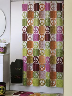 "Peace Out"" Peace Sign Vinyl Shower Curtain for Sale in Baltimore, MD"