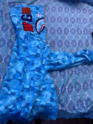 Blue camo fire flame bape hoodie zip-up for Sale in Staten Island, NY