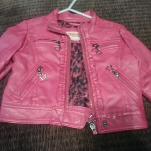Girl PINKcolor faux leather jacket size 18mos. for Sale in Chicago, IL