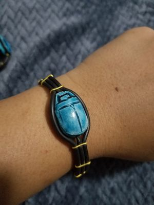 Blue Egyptian Scarab Stone Handcrafted Bracelet New for Sale in Austin, TX