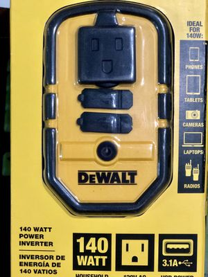 DeWalt 140-W Power Inverter with Dual USB port for Sale in Garden Grove, CA
