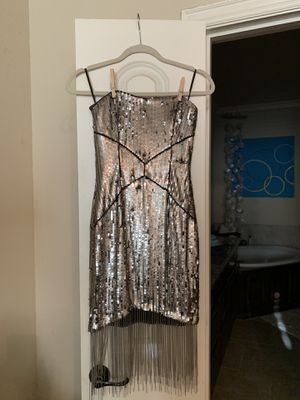 BeBe Silver Sequin Dress with Fringe for Sale in Irving, TX