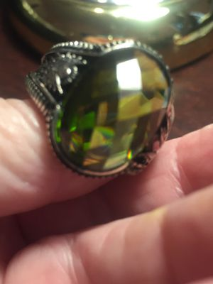 Men's Sterling Silver Ring. Faceted Green Quartz. Size 11 for Sale in Dallas, TX