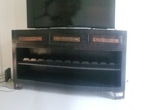 Solid wood buffet / entertainment console with wine rack for Sale in Tampa, FL
