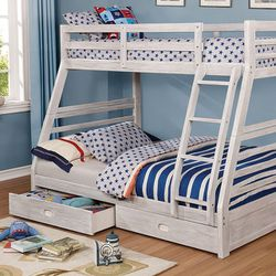 WIRED BRUSH WHITE FINISH TWIN OVER FULL SIZE BUNK BED FRAME DRAWERS / CAMA LITERA MATRIMONIAL SENCILLA CAJONES MUEBLES VENTA SALE for Sale in San Diego,  CA