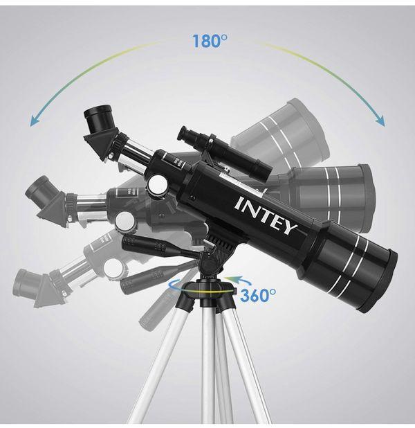 INTEY F40070M Telescope Astronomy - The Achromat Eyepiece of Kellner K25mm and K6mm, Refraction Telescope, Adjustable Aluminum Tripod (50~120cm), wit