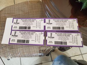 4 six flags holiday in the park tickets for Sale in Fort Worth, TX