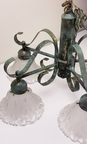 Green, Gold & Black Upcycled Chandelier Metal Ceiling Light Dining Room for Sale in Colton, CA