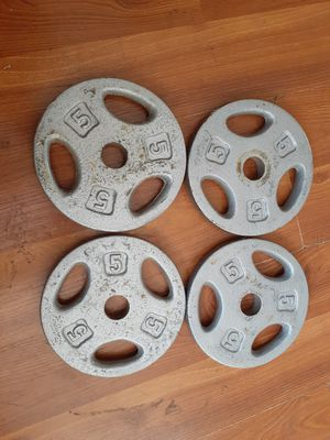 "5 LB Barbell Weight Plates 1"" Standard Grip Weights Set of 4,20lbs. for Sale in Sacramento, CA"