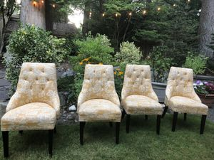 Four Yellow Kitchen Table Dining Chairs for Sale in Redmond, WA
