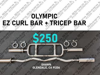 OLYMPIC EZ CURL BAR + OLYMPIC TRICEPS BAR COMBO SET for Sale in Glendale,  CA