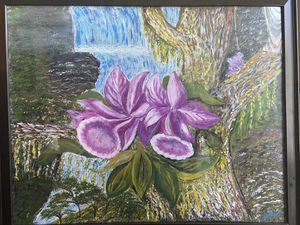 Flower in Forest Painting -Framed for Sale in San Diego, CA