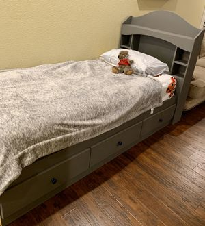 Rustic gray Twin Captain's Bed w/ storage and bookcase, & desk w/ hutch for Sale in VC Highlands, NV