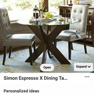 Gorgeous Simon X Wood Table Base And Glass Table Top for Sale in Portland, OR