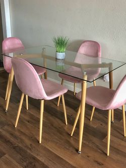 Modern Glass Dining Table Set, Blush Pink Dining Chairs for Sale in Culver City,  CA