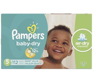 Diapers Size 5, 112 Count - Pampers Baby Dry Disposable Baby Diapers, Giant Pack for Sale in Moreno Valley, CA