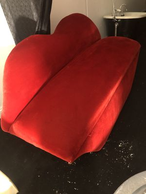 Red couch loveseat with storage red velvet, 69long x27deep , 24 tall , 40 tall high back , down town miami area 33128 pick up only for Sale in Miami, FL