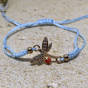 Adjustable Dragonfly Ladybug Rhinestone Charm Rope Bracelet for Sale in Lester, WV