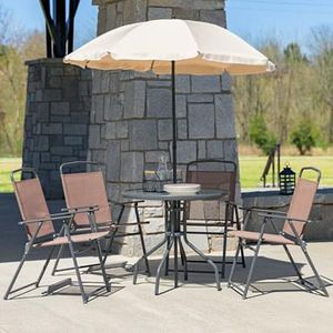 NEW 6 Piece Patio Furniture Outdoor Set w/Umbrella Chairs and Table for Outdoor Areas for Sale in Las Vegas, NV