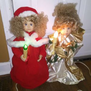 Vintage Large Light Up Christmas Dolls *the right one moves too* ($5 total for both) for Sale in St. Louis, MO