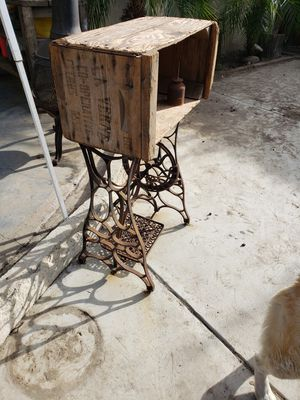 Castiron sewing stand with rustic crate for shelving for Sale in Whittier, CA