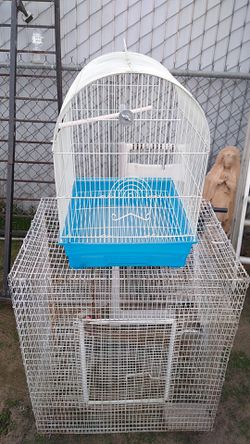 Two bird cages a big one and a little one 29 long by 2 ft the big one the little one 19 in Long by 14 wide two bird cages for Sale in Fresno,  CA