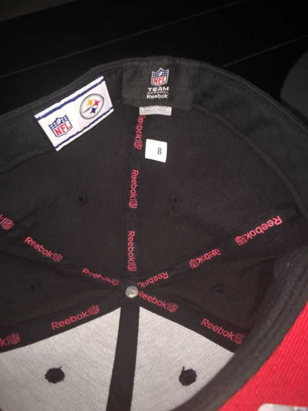 Men's Reebok NFL Pittsburgh Steelers Fitted Cap/Hat Black Red Size 8