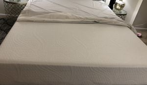 Queen size memory foam mattress with protector & metal bed frame for Sale in Alexandria, VA