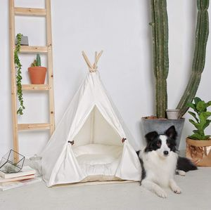 little dove Pet Teepee Dog(Puppy) & Cat Bed - Portable Pet Tents & Houses for Dog(Puppy) & Cat Beige Color 24 Inch (with Cushion) for Sale in Windermere, FL