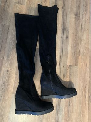 Black thigh high faux suede hidden wedge boots size 9 for Sale in Yucaipa, CA