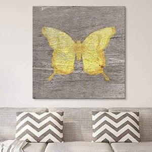 ((FREE SHIPPING)) square canvas wall art - yellow butterfly wood effect canvas - giclee print gallery wrap modern home decor Painting like print for Sale in Water Mill, NY