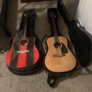 2 Guitars. One Is A Fender. The Red One Is A Show Piece. for Sale in Denver, CO