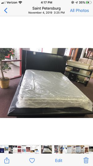 Platform bed frame and headboard leather queen for Sale in Gulfport, FL
