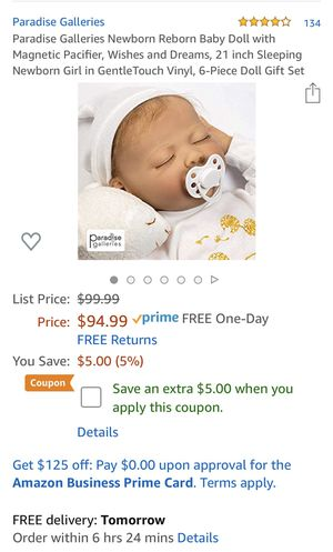 Paradise Galleries Newborn Reborn Baby Doll with Magnetic Pacifier, Wishes and Dreams, 21 inch Sleeping Newborn Girl in GentleTouch Vinyl, 6-Piece Do for Sale in Affton, MO