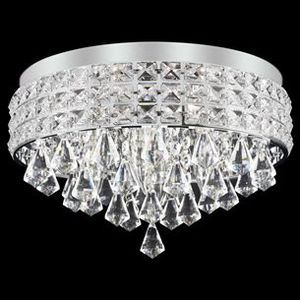 """Kira Home Gemma 15"""" Modern Chic 4-Light Flush Mount Crystal Chandelier + Round Metal Shade, Dimmable, Brushed Nickel Finish for Sale in Ontario, CA"""