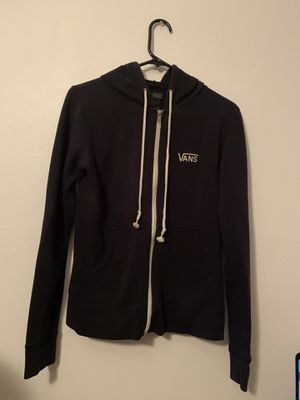 Women's Vans Zip Up Hoodie Black and White Size XS Extra Small for Sale in Arlington, WA
