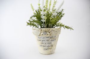 White distressed Shabby Chic, angel wings Plant Pot, perfect gift for Mom or Grammy.! for Sale in Mesa, AZ