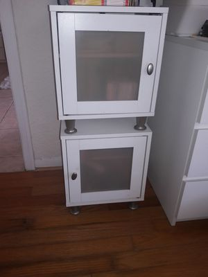 2 small white end tables w/storage for Sale in Coral Springs, FL