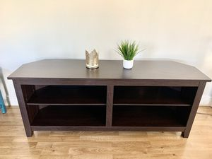 Espresso brown tv console table stand for Sale in Roseville, CA