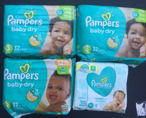 Pampers Size 3 (96 count) Wipes (192 count) $25 for Sale in Lake Forest, CA